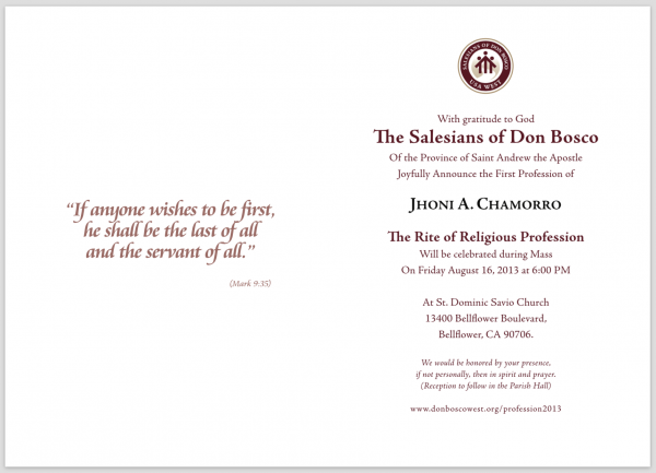 Card Invitation First Religious Profession
