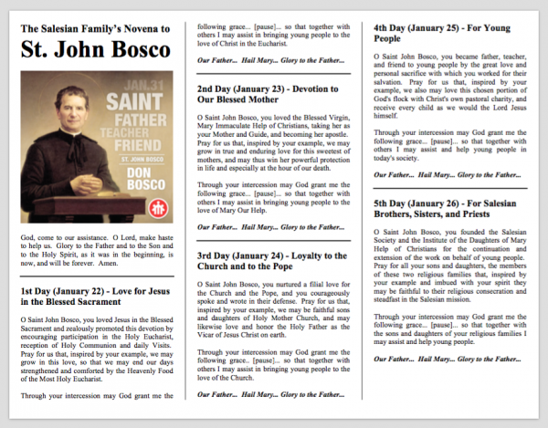 Novena Prayer to Saint John Bosco (Don Bosco)